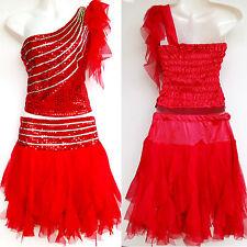 Kinder Mädchen Damen Cheerleader-Kostüm/Kleid Fasching/Cosplay Rot Gr.98-188