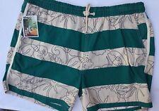 Mens Swim Shorts in Green & Cream Stripe sizes XL or XXL