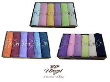 Set 12 asciugamani spugna. VINGI RICAMI, FIOCCO. 6 Viso + 6 ospite. 100% Cotone.