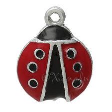 Ladybug Wholesale Silver Plated Red Enamel Pendant Charms C1570 - 3PCs Or 5PCs