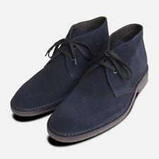 Navy Blue Suede Mens Desert Boots