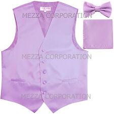 New Men's Vesuvio Napoli Tuxedo Vest Bowtie Hankie set prom party Lavender