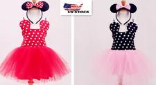 Girl Minnie Mouse Polka Dotted Tutu Skirt Princess  Party Dress Headband o72