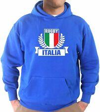 Felpa Cappuccio KJ1668 Stemma Italia Rugby Sei Nazioni Maglia Nazionale