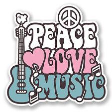 2 X 10 Cm Amor Paz Music pegatina de vinilo Laptop Auto Camper Surf Guitar Kids # 6648