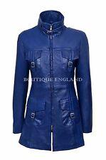 Ladies Blue Gothic Jacket Leather | Fashion Zipper Gothic Coat REAL LEATHER 1310