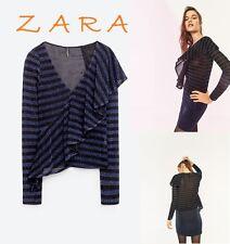 ZARA Blue Black Striped Top Front Frill Long Sleeve V-Neck New (RT$39) S M L XL