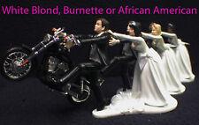 Wedding Cake Topper W/ Harley Davidson Motorcycle White Black Hispanic Groom top
