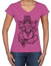 Ganesha Indian Hindu Elephant God Hipster Large Print V Neck Women's T-Shirt