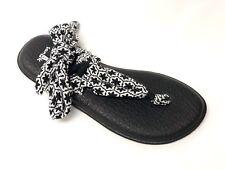 Sanuk Women's YOGA SLINGED UP PRINTS BLACK/WHITE TILE SWS10575 Casual Flip Flop