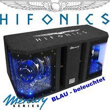 HIFONICS 2x25cm Subwoofer in Basskiste mit LED Beleuchtung blau/weiß