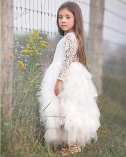 Stunning White Lace Bohemian Spirit Long Lace Sleeve Flower Girl Occasion Dress
