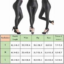 Leggings Piel Sintética cintura alta Ajustado Slim Skinny Pantalones Tipo Lápiz