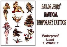 SAILOR JERRY Rockabilly old school navy TEMPORARY TATTOO last 1 week+ waterproof