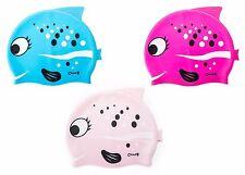 Kids Swim Caps Silicone Boys Girls Bubblefish Cartoon Swimming Durable Flexible