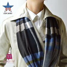 New Men Women Super Soft Cashmere Feel Scarf Wrap Shawl- Brown Tartan Plaid 74-1