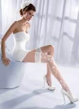 Women's Patterned Bridal Lace Top White Hold Ups, Gabriella Princessa