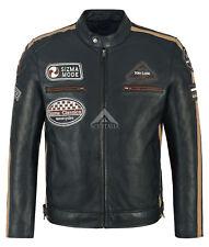 SIZMA Men Leather Jacket Navy Classic Real Lambskin Motorcycle Biker Style 5011