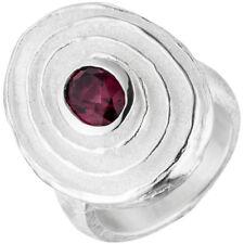 Anillo Con Rojo Rhodolite Ovalo MATE PARCIAL forma de espiral plata 925