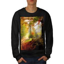 Wellcoda Forest Tree Autumn Mens Sweatshirt, Late Casual Pullover Jumper