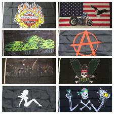 Biker Flag Chopper Outlaws Angel Motorbike Race HM Biking Motorcycle Highway 5x3