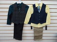 Boys Van Heusen $50 4pc Deep Water or Yellow Vest Suits Size 4 - 7