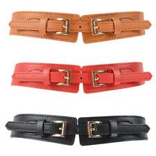 Women Lady Retro Double Buckle Belt Stretch Faux Leather Dress Stylish Waistband