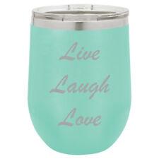 Stemless Wine Tumbler Coffee Travel Mug Glass Live Laugh Love