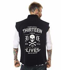 Dragstrip Clothing Thirteen Lives Sl/Less Distressed Hot Rod Biker Work Shirt