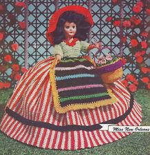 Vintage Crochet PATTERN 8-inch Doll Clothes Dress Skirt Blouse Apron Hat Basket