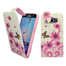 Bianco Rosa Vortice Fiore Farfalla Similpelle Custodia Flip per Samsung Galaxy