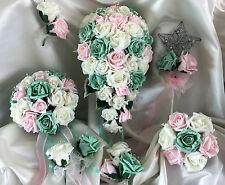 Fleurs De Mariage Rose/Menthe Rose Bouquet Cristal,Fiancée/Demoiselles d'honneur