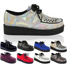 Para Mujer Damas Plana Plataforma Cuña lazada Creepers Punk Goth Zapatos Botas Talla
