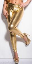 9067 Leggings Pantacollant Effetto Liquid WetLook Pvc Latex ORO con Cerniere Zip