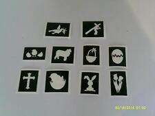 Pochoirs à thème de Pâques (mixte) pour la gravure sur verre croix lapin oeuf