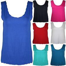 New Womens Plus Size Laser Cut Scallop Vest Tops Trendy Tops 12-26
