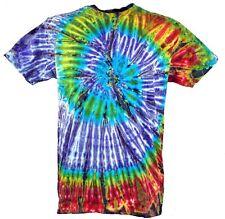 Batik T-Shirt, Herren Kurzarm Tie Dye Shirt - lila/grün Spirale