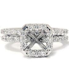 3/4ct Pave Halo Diamond Briadal Ring Set Setting 14K White Gold