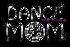 Dance MoM - Dancer Outline Rhinestone Iron on Transfer Hot Fix Bling Sports