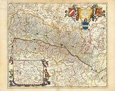 Vintage Old decorative map Alsace Visscher 1690 paper or canvas