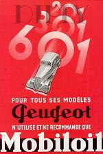 PLAQUE ALU DECO AFFICHE PEUGEOT MODELES 201 301 601 MOBILOIL VOITURE ANCIENNE