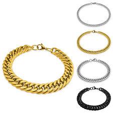 Edelstahl-Armkette schwarz silber gold Königskette Armband massiv Glieder-Kette