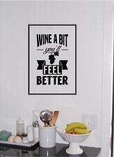 WINE a Little You Will Feel Better Vinyl Sticker Lettering Kitchen Decor