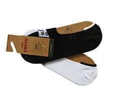 Levi's Boys/Men Soft Cotton Mix Trainer Low Rise Socks 2 Pairs Black & White New