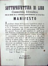 1871 MANIFESTO DEL CAVO VELA DI LUGO IDROLOGIA CANALI E ACQUE
