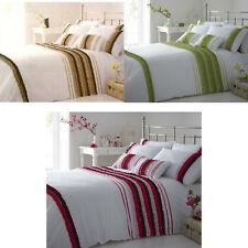Viola Ruffle Taffeta Trimmed Duvet Cover/Quilt Cover Set Bedding Pink/Green/Choc