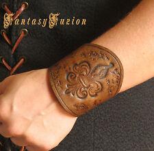 Medieval Renaissance Vintage LARP Fleur de Lys Design Stamps Leather Cuff Bracer