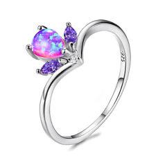 Retro Style Teardrop rainbow Fire Pink Opal Gemstone Silver Ring US Size 7 8 9