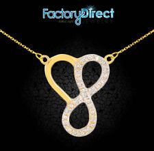 14k Gold Infinity Heart Pendant Double Mount Necklace Diamonds Love Trust Family