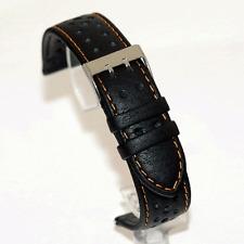 Di Modell Rallye Black Watch Strap : Orange Stitch : 19mm, 20mm or 22mm (O4)